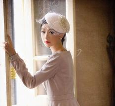 Wanita Musim Dingin Beret Billycock Dengan Lace Ladies Vintage Topi Putih Oem Diskon