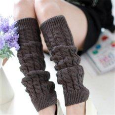 Promo Womens Winter Knit Crochet Rajutan Leg Warmers Legging Boot Cover Fashion Dark Grey