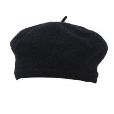Womens Winter Solid Hangat Wol Beret Lirik Yang Berarti French Topi Kerpus Hitam