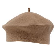 Wanita Musim Dingin Solid Hangat Wol Baret Seniman Prancis Topi Kerpus Khaki-Intl