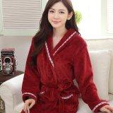 Harga Wanita Musim Dingin Penebalan Jubah Mandi Coral Fleece Robe Merah Intl Yang Murah