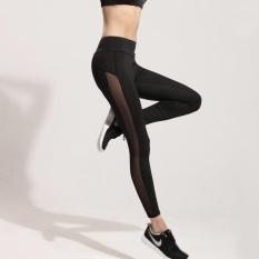 Wanita Yoga Pants Wanita Jahitan Net Benang Meregangkan Tight Running Trousers-Hitam-Intl