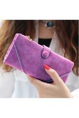 Top 10 Womens Ritsleting Bifold Faux Dompet Kulit Dompet Panjang Case Evening Bag Snap Button Clutch Handbag Ungu Online