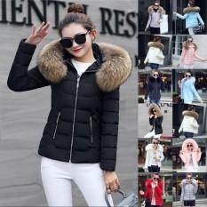 Indah Power Terbaru Hot Produk Turun & Parka Jaket Katun Wanita Wanita Padded Katun Jaket Musim Dingin Kerah Bulu Besar dengan Hoody ukuran Plus M-3XL-Pink-Int: XL-Intl
