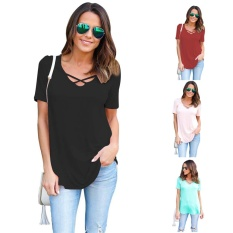 Kekuatan Luar Biasa Wanita Summer Cross Depan Atasan Dalam V Leher Blus Kasual Girls Tees T Shirts Brand New-Biru -L-Intl