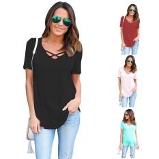 Kekuatan Luar Biasa Wanita Summer Cross Depan Atasan Dalam V Leher Blus Kasual Girls Tees T Shirts Brand New-NAVY Biru-L-Intl