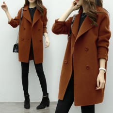 Review Wool Tweed Coat Female 2018 Spring New Korean Version Of The Long Cocoon Type Double Breasted Woolen Coat Loose Thin Tide Intl Oem Di Tiongkok