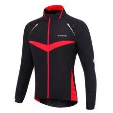 WOSAWE Unisex Windproof Bersepeda Outdoor Sport Menjalankan Jaket Sepeda Sepeda Bersepeda Jersey (Hitam dengan Merah)-Intl