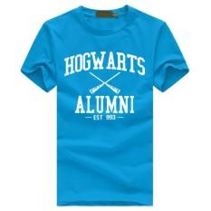 WuXinSu Hogwarts Terinspirasi Siswa Magic Pendek T-Shirt untuk Mens American Apparel Kaos Lucu Biru Muda-Internasional