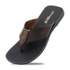 Xavi Sandal Kulit Pria - Coklat Tua
