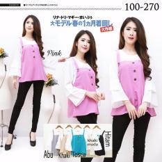 Xavier Blouse blouse Nilly 270 Pink Blouse Lengan panjang / lengan ruffle 3/4 / lengan terompet / Blouse Kotak Polos Cewek / Hem Kemeja Baju Wanita Fashion Bangkok / Blus Korean Style / Blouse Wanita Modern / blus wanita terbaru