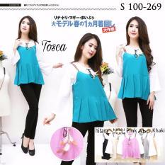 Xavier blouse Erina 269 Tosca Blouse Lengan panjang / lengan ruffle / lengan terompet / Blouse Kotak Polos Cewek / Hem Kemeja Baju Wanita Fashion Bangkok / Blus Korean Style / Blouse Wanita Modern / blus wanita terbaru