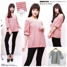 xavier blouse rina kotak 3/4 merah Blouse Lengan 3/4 / Blouse Kotak Polos Cewek / Hem Kemeja Baju Wanita Fashion Bangkok / Blus Korean Style / Blouse Wanita Modern / blus wanita terbaru
