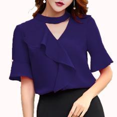 Xavier blouse trendy casual Navy Blouse Lengan panjang / blus jumbo / blus big size / Blouse Polos Cewek / Hem Kemeja Baju Wanita Fashion Bangkok / Blus Korean Style / Blouse Wanita Modern / blus wanita terbaru