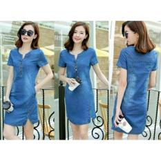 Xavier dress katun denim / dress korea / dress hongkong / dress kasual / gaun trendy / dress santai / baju wanita