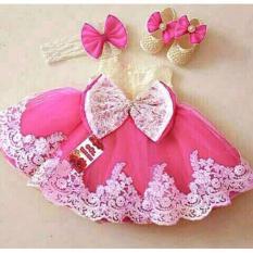 Xavier Dress pink brukat / dress anak / dress princess / gaun anak / baju anak / setelan anak perempuan / baju pesta anak