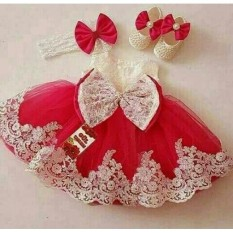 Xavier Baju Setelan Anak Wanita Lucu Princess / Dress Wanita / Usia 2 - 4 Tahun / Baju Setelan Imut NV (incesspr) /  Baju dan Rok Polos / Trendy Lucu Bagus Merah  Dress princess