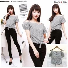 xavier sabrina cherrry hitam Blouse Lengan Pendek / Blouse Kotak Polos Cewek / Hem Kemeja Baju Wanita Fashion Bangkok / Blus Korean Style / Blouse Wanita Modern / blus wanita terbaru
