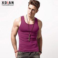 Toko Xdian Mens Tank Top Olahraga Gym Murni Kapas Slim Fit Tanpa Lengan T Shirt Fuchsia Intl Terlengkap Di Tiongkok