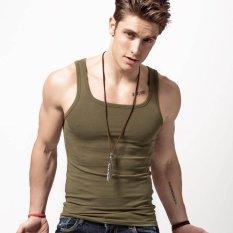 Promo Xdian Pria Tank Top Square Leher Olahraga Gym Athletic Slimming Undershirt Fashion Rompi Amy Hijau Intl Xdian Terbaru