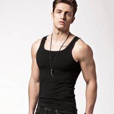 Harga Xdian Pria Tank Top Square Leher Olahraga Gym Athletic Slimming Undershirt Fashion Rompi Hitam Intl Xdian Asli