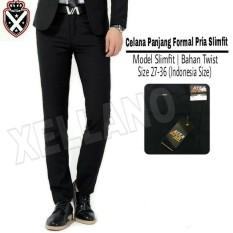 Xellano Celana Formal Pria Slimfit Marco-Panjang- Kerja-Kantor-Bahan-Size 27-36 Hitam