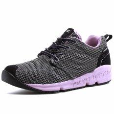XIANG GUAN Menjalankan Sepatu Bernapas Unisex Outdoor Sports Cross Country Walking Jogging Sneakers-Grey Ungu-Intl