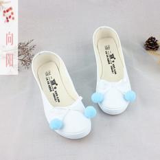 Xiang Yang Bola Yang Dilukis dengan Tangan Asli Sepatu Kain (Salju Pompon Lereng dengan Putih [Biru Pompon])
