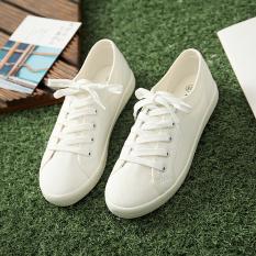 Xiasen Garis Perempuan Warna Polos Musim Semi Perempuan Kaki Wanita Kasual Tunggal Sepatu Sepatu Kets Putih (Putih)