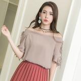Spesifikasi Xisiyao Atasan Korea Fashion Style Strapless Kemeja Sifon Kecantikan Manis Khaki Baju Wanita Baju Atasan Kemeja Wanita Blouse Wanita Terbaik