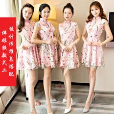 Jual Beli Xiu Wo Layanan Cina Mempelai Wanita Baru Musim Gugur Dan Dingin Gaun Malam Warna Gaun Pengiring Pengantin Ayat Pendek