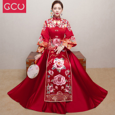 Xiu Wo Pakaian Baru Musim Semi atau Musim Panas Mempelai Wanita Cheongsam Baju Pelayanan (Arak Anggur Warna)