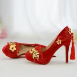 Beli Barang Xiu Pakaian Merah Perempuan Baru Musim Dingin Dengan Sepatu Sepatu Pernikahan Merah 11 Sentimeter Dengan Online