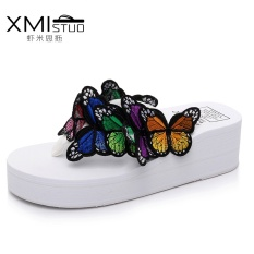XMISTUOCool Handmade 3D Butterfly Simpul Sandal Sandal Dewi Meningkatkan 5.5 Cm Lereng dengan Slip Beach Sepatu Kata Sandal 1219-Intl