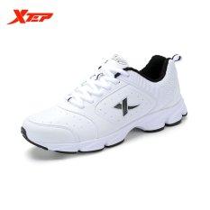 XTEP Brand Light Menjalankan Sepatu Pria Kulit Sepatu Kets Karet Athletic Sepatu Olahraga Outdoor Chusion Sepatu Olahraga (hitam)-Intl