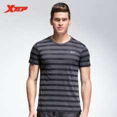 Promo Pria Menjalankan T Shirt Bernapas Latihan Kebugaran Kemeja Hitam Xtep Murah
