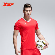 Xtep Pria Bernapas Sepakbola Kering Cepat Setelan Pelatihan Football Shirt Pendek Merah Intl Terbaru