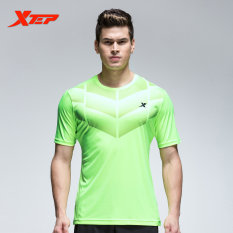 Ulasan Lengkap Tentang Xtep Men S Breathable Quick Dry Soccer Tshirts Running Sports Shirt O Neckfitness Short Sleeve Male Shirt Green Intl