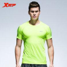 Promo Xtep Pria Fashion Lengan Pendek Kaus Ketat Pakaian Sporting Musim Panas Fashion Solid Man Dasar T Shirt Pria Binaraga Tops Hijau Intl Xtep