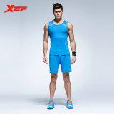 Spesifikasi Xtep Pria Light Sportwear Bernapas Sepakbola Kering Cepat Set Menjalankan Rompi Pendek Biru Intl Terbaik