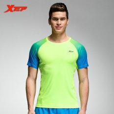 Diskon Xtep Pria Fesyen Musim Panas Lengan Bang Pendek T Shirt Pakaian Sporting Fashion Solid Dasar T Kemeja Pria S Binaraga Tops Hijau Intl