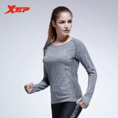 Ulasan Xtep Wanita Lengan Panjang Atasan Kemeja Kompresi Tights Kaos Pakaian Olahraga Yoga Latihan Kebugaran Cepat Kering Bernapas Ladies Kemeja Grey Intl