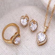 Xuping Sj1077 Jewel Set Romantic Love 18K Gold Plated Asli