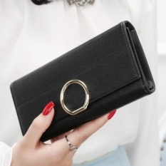 YADAS New Wallet Female Long Paragraph of the Korean Version of the New Fresh Leather Ball Wallet Wallet Student Qian Jia( Black) - intl