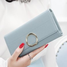 YADAS New Wallet Female Long Paragraph of the Korean Version of the New Fresh Leather Ball Wallet Wallet Student Qian Jia (Blue) - intl