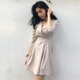 Jual Yang Chic Gaya Retro Elegan V Neck Pinggang Tinggi Gaun Meter Beige Baju Wanita Dress Wanita Gaun Wanita Import