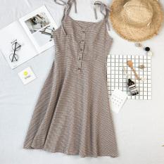 Ulasan Tentang Kecil Bening Kain Linen Kotak Kotak Rok Pantai Rok Gaun Coklat Muda Warna Baju Wanita Dress Wanita Gaun Wanita