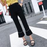 Spesifikasi Ulzzang Korea Fashion Style Perempuan Musim Semi Dan Musim Panas Siswa Lurus Celana Pinggang Tinggi Kulot Pinggang Elastis Garis Garis Tipis Boot Cut Celana Oem