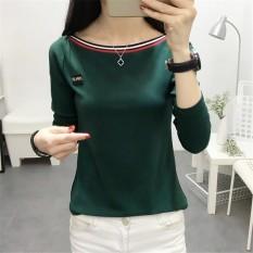 Chic Baju Dalaman Korea Fashion Style Warna Solid Kerah Datar Pada (Hijau)