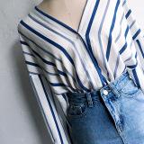 Beli Kemeja Wanita Lengan Panjang Kerah V Bahan Linen Motif Salur Model Longgar Gaya Korea Bergaris Online Tiongkok